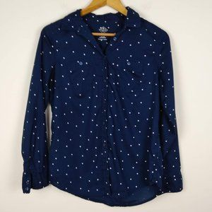 St John's Bay Navy Polka Dot Button Down Shirt
